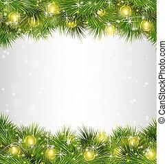 ramas, grayscale, luces amarillas, pino, navidad