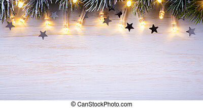 ramas, luces, árbol, navidad, plano de fondo, arte, luz