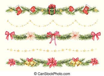ramas, picea, fronteras, conjunto, navidad, gifts., acuarela, vector, verde