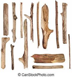 ramas secas, y, viejo, de madera, signpos