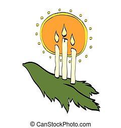ramas, velas, árbol, por, navidad, brillar