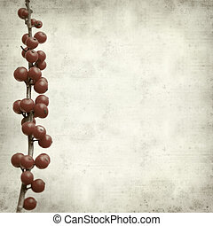 ramas, winterberry, papel, plano de fondo, textured, viejo