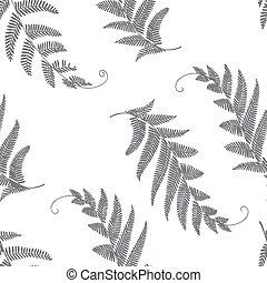 ramas, y, hojas, seamless, gris