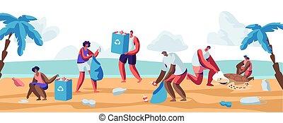 ramassage, concept, gens, écologie, sacs, différent, déchets ménagers, plat, plage., genres, propre, illustration, désert, protection, dessin animé, garbage., bord mer, haut, océan, vecteur, coast., volontaires, pollution