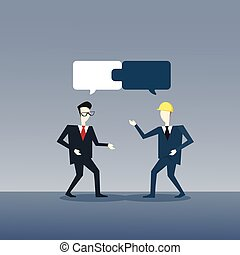 ramassage, développement, business, réussi, puzzle, deux, croissance, collaboration, hommes affaires, équipe