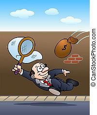 ramassage, homme affaires, argent