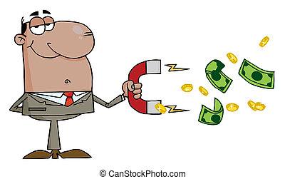ramassage, homme affaires, noir, argent