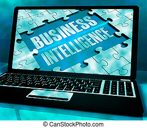 ramassage, information, business, intelligence, ordinateur portable, rendre, projection, 3d