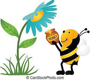 ramassage, miel, fleur, abeille
