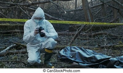 ramassage, officiers, crime, légal, spécialistes, évidence, confection, expertise., police, investigation., détectives, scene.