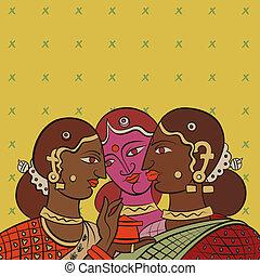 ramassage, thé, après, filles, indien, bavardage
