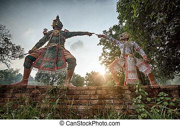 (ramayana, 嚴格地,  khon, 跳舞
