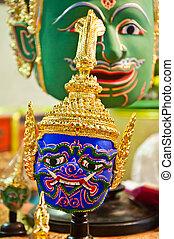 ramayana, traditionnel, histoire, masque,  thaï