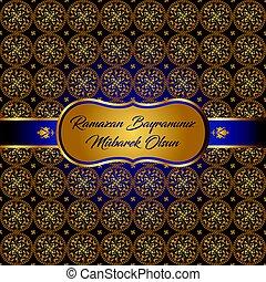 ramazan bayrami, ramadan kareem. bless your ramadan feast greeting card vector illustration (turkish: ramazan bayraminiz mubarek olsun)