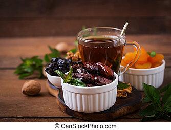 (ramazan), (date, raisins), mezcla, ramadan, albaricoques,...