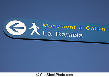 Rambla Pedestrian Sign against Blue Sky Background