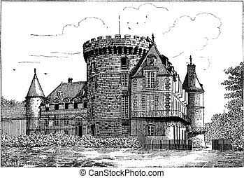rambouillet, weinlese, chateau, engraving.