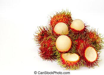 rambutan fruit on white background