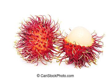Rambutan fruits on white background