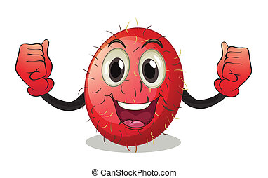 Illustration of a rambutan with face