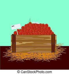 Rambutan in a wooden crate