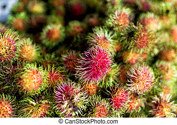 Rambutan in market palce with soft light