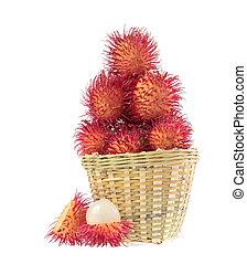 Rambutans fruit on white background.