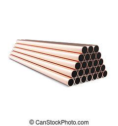 rame, fondo., tubi per condutture, isolato, interpretazione, bianco, 3d