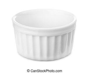 Ramekin - Small glazed ceramic ramekin isolated on white