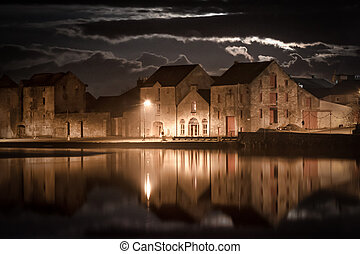 Ramelton Moon lit Warehouses