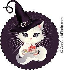 ramen, 子ネコ, 食べなさい, 白
