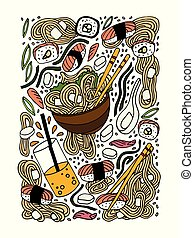 Ramen and sushi doodle style hand drawn colored...