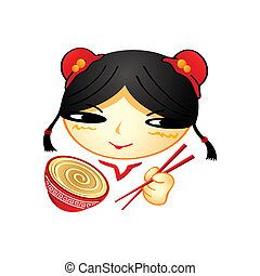 Ramen girl - Cheerful chinese girl with cup of ramen and...