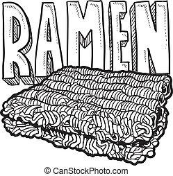 Ramen noodles sketch - Doodle style ramen noodles college...