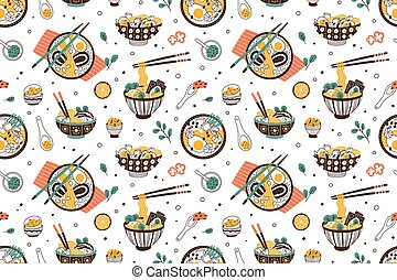 Ramen soup hand drawn seamless pattern. Traditional japanese dish with noodles in bowls vector flat illustration. Background with national oriental meal. Wrapping for wok restaurant.