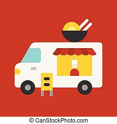 Ramen truck vector, Food truck flat style icon
