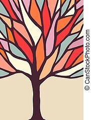 rami albero, illustrazione, colorito