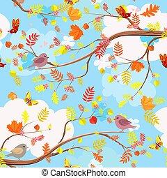 rami, colorito, albero, seamless, struttura, bello, uccelli