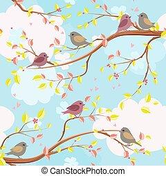 rami, colorito, albero, seamless, struttura, elegante, uccello
