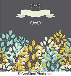 rami, foglie, naturale, fondo, banner.