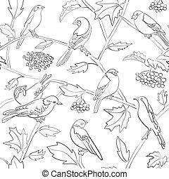 rami, modello, seamless, silhouette, vettore, nero, bianco, uccelli