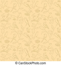 rami, modello, seamless, vettore, rowan, beige, bacche, uccelli