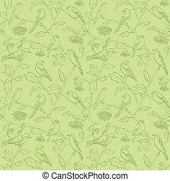 rami, modello, seamless, vettore, rowan, luce, floreale, verde, bacche, uccelli