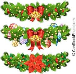 rami, ribbon., oro, festivo, stella, albero, decorazione, agrifoglio, natale, rosso, fascette