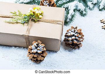 rami, spazio, albero, libero, regalo, snow., fondo, natale