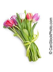 ramillete, de, primavera, tulipanes, flores