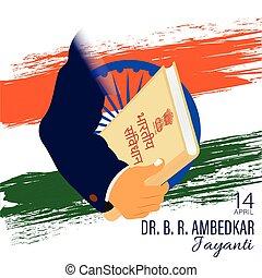 ramji, ambedkar, 憲法, イラスト, vectpr, jayanti, インド, bhimrao, dr