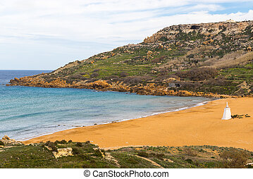 Ramla Bay, Gozo island, Malta - Orange sand at Ramla Bay,...