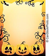 ramme, hos, tre, halloween, pumpkins