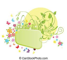 ramme, og, blomster